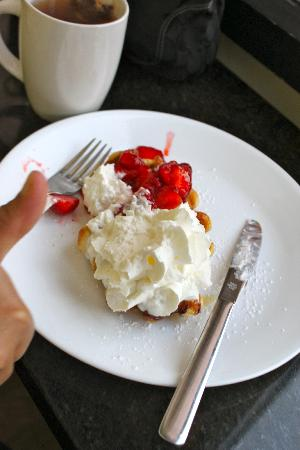 Wannawafel: My favorite; liege waffle with strawberries and heavenly whipped cream!