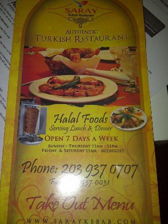 Saray Turkish Kitchen: Menu