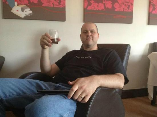 Aaron Glen: Enjoying a Scotch from the honor bar