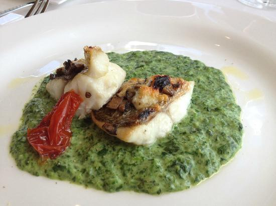Harlan's: Pan-seared sea bass with creamy spinach