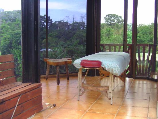 La Casa del Mango: the massage table has views of the mountains and ocean.