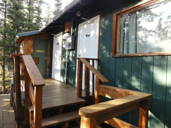 Denali Park Salmon Bake Cabins: Side window Cabin 2 and doors to common toilets