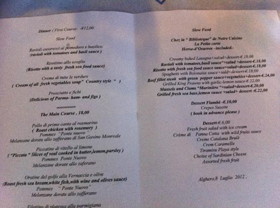 Hotel La Playa: menu