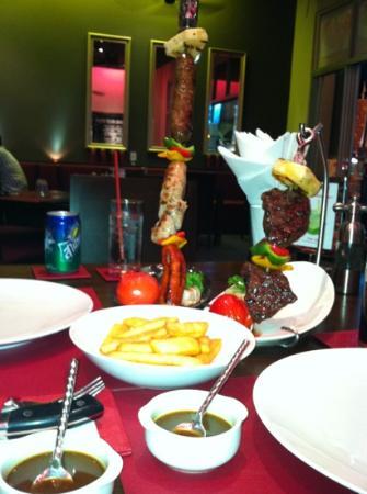 Churrasco Phuket Steakhouse : sausage skewer and small beef skewer
