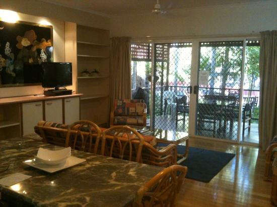 Parap Village Apartments: Apartment 26 - lounge room & deck area