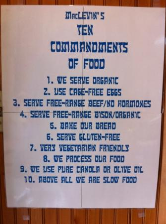 MacLevin's Eaterie: Their ten commandments of food