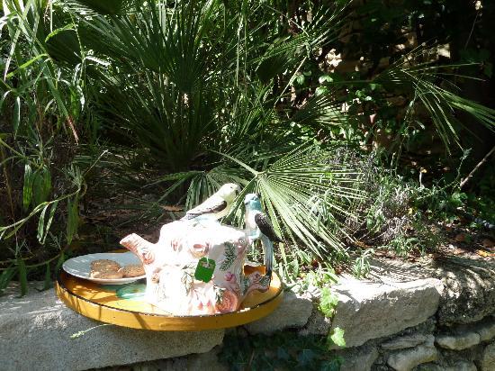 L'Esperou : La tasse de thé vert, dans sa belle théière servie au bord de la piscine
