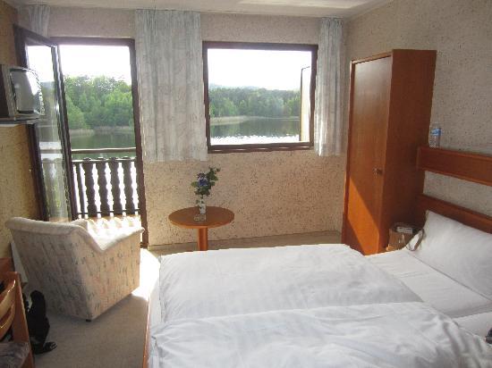 Hotel Beau Rivage : Chambre et vue sur étang
