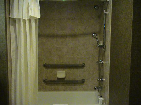 Homewood Suites Fort Smith: European shower fixtures-two safety grab bars in shower