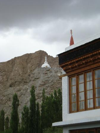 Hotel Omasila: View of Shant Stupa from Omasila