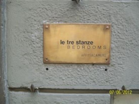 Le Tre Stanze: address placard