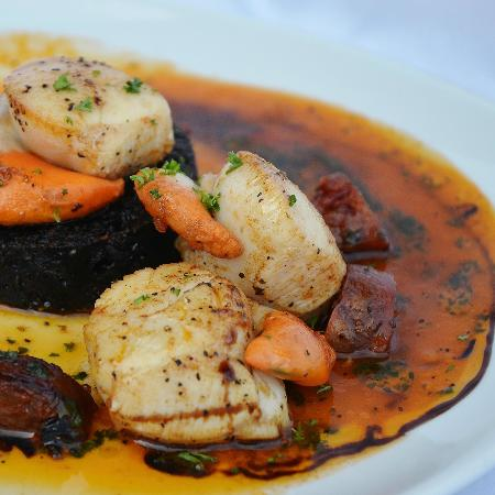 Crofter's Bistro Open Again 7th March: Seared Scallops with blackpudding, Chorizo and shellfish reduction