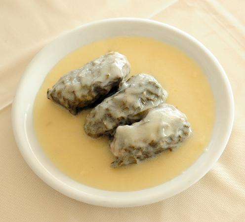 George and Zachos: Ntolmades in egg and lemon sause
