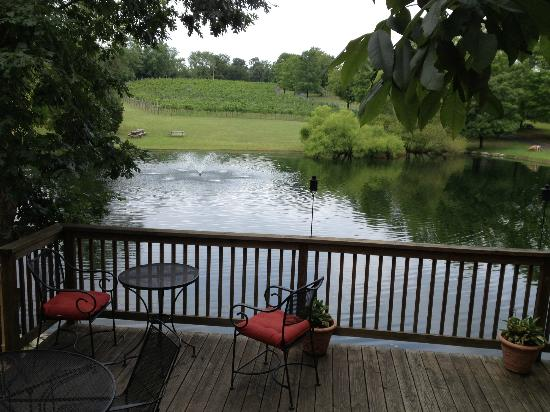 Unicorn Winery: the deck right off the tasting room with views of the vines, fountain, and turtles
