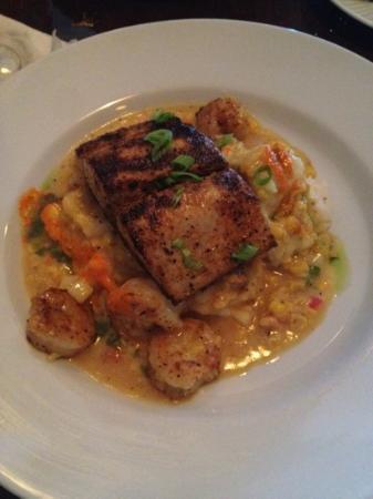 The Bistro at Just Baked: grilled mahi-mahi & shrimp