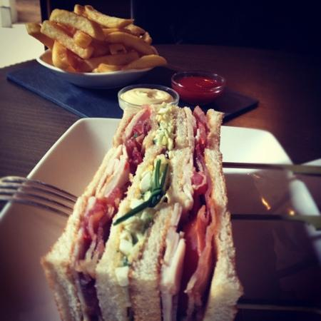 The Dylan: club sandwich + fries at the bar