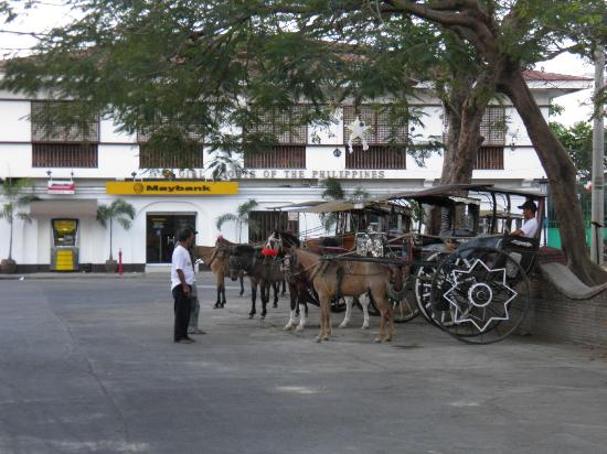 Vigan Plaza Hotel: calesas lining-up at Burgos Plaza