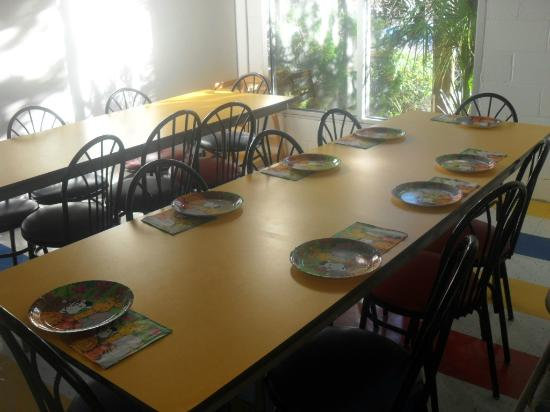 Jungle Rapids Family Fun Park: The party room dining tables