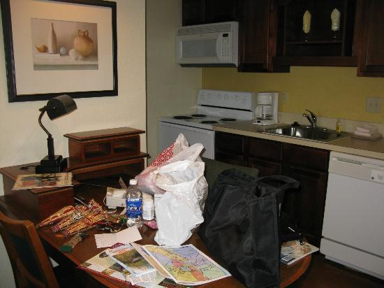 Residence Inn Winston-Salem University Area: The mini-kitchen, with stove, microwave and full-size fridge.
