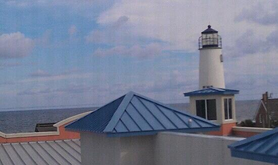 St George Inn: view of the lighthouse from coastal room.