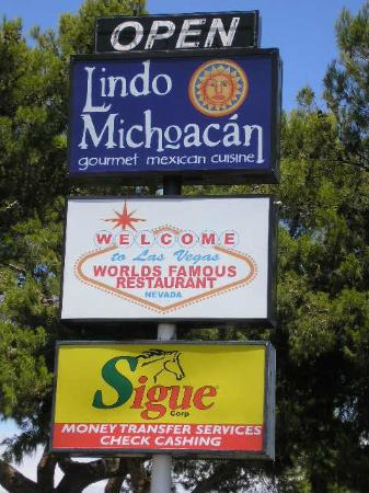 Lindo Michoacan: sign