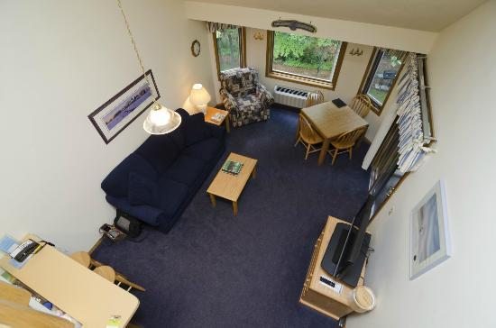 The Landing Resort: Living Room as Seen from the Loft