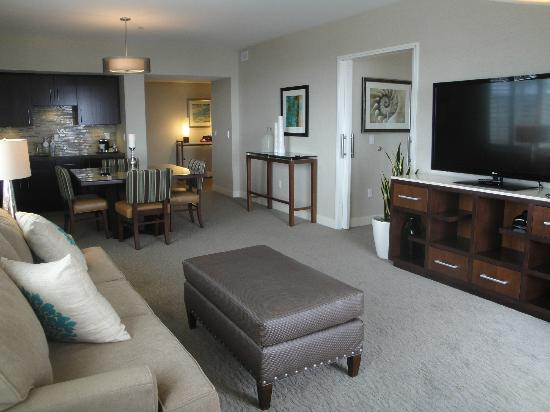 Cape Rey Carlsbad, a Hilton Resort: living room area of corner suite