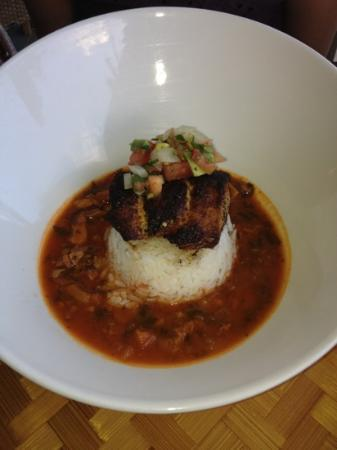 Plantation Gardens Restaurant: Blackened Ono on rice in a seafood stew ...
