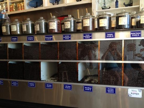 Anthony's Coffee Co Incorporated: Variety of coffee beans for sale, including pure extra fancy Kona.