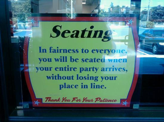 The Shack Restaurant: The Shack's Seating Policy