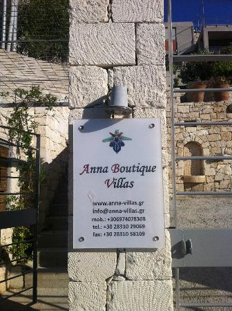 Anna Boutique Villas: Sign
