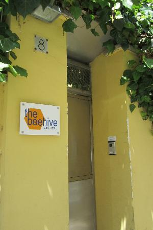 Front of the Beehive, easy to spot in the yellow building!