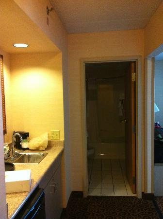 Hampton Inn Chicago-Midway Airport : View from front door looking into bathroom, with entrance to living area on the right