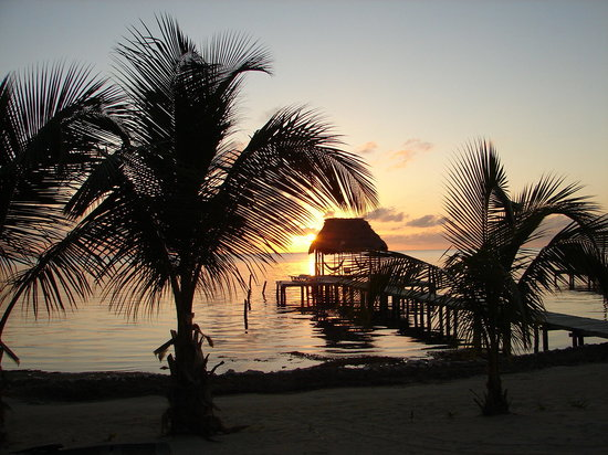 Barefoot Beach Belize: Sunset from the veranda