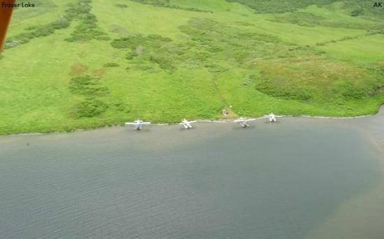 Andrews Airways: Float planes tied up at Fraser Lake taken from our plane!!