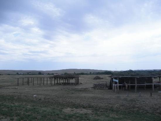 Looking out at Wounded Knee site, Lakota stalls