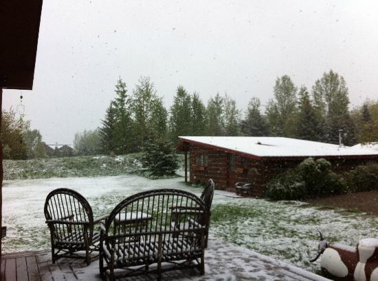 Teton View Bed & Breakfast: Cabin in the snow--view from the main house