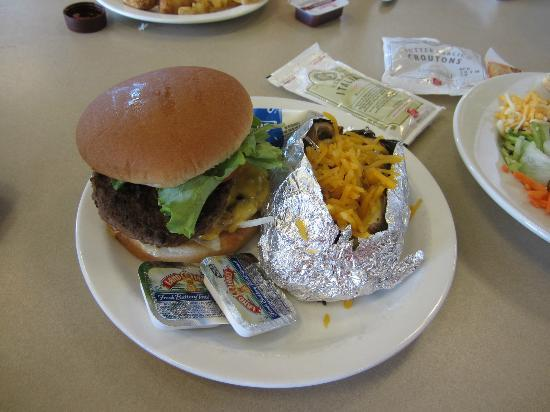 Chick-fil-A: My Hamburger Meal with a Loaded Baked Potato and Salad
