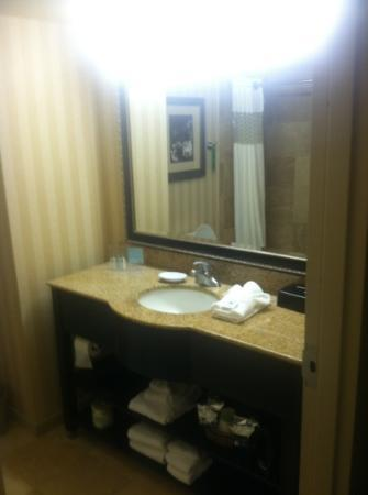 Hampton Inn & Suites Jackson: rm 409 bathroom - has 4 outlets to use by the sink