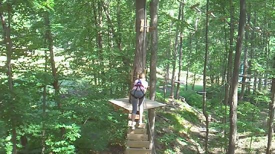 Sky High Aerial Adventure Park: Lori finishes 2nd obstacle-yellow course