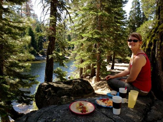Placerville, CA: Brunch on a boulder at our creekside campsite ...