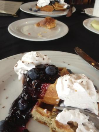 The Collins Inn : blueberry topped Belgian waffles