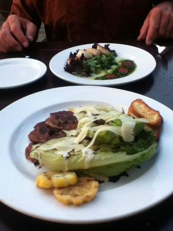 Herons Restaurant @ Heriot Bay Inn: Grilled caesar salda and scallops appatiser