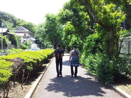 Ryokan Katsutaro: le parc ueno qui borde le chemin du metro jusqu'a l'hotel !