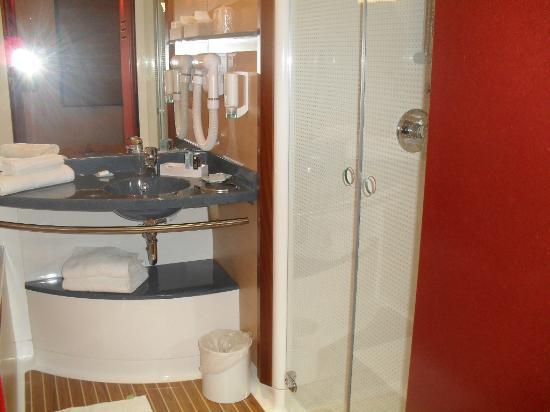 Novotel Suites Nice Aeroport: salle de bain douche + baignoire.