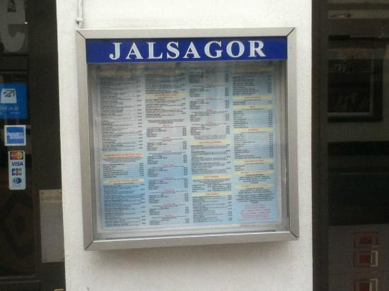 Jalsagor Restaurant: An excellent menu clearly displayed outside the Jalsagor