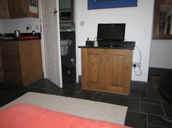 TV, bathroom (with shower), and coffee area (to left) of Cwt Môr at Y Goeden Eirin