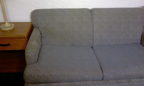 Cozy Crest: Living rm sofa - old w/stains - funny smell