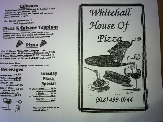 Whitehall House of Pizza: Menu page 1
