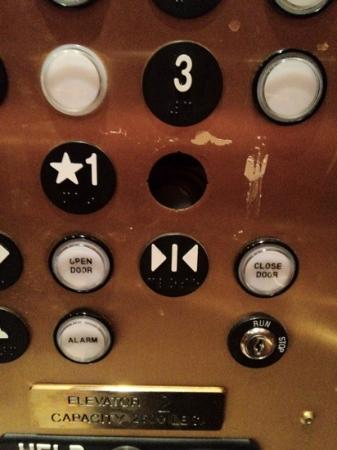 Plaza Hotel: missing button in an elevator